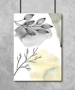 Plakat z abstrakcją na tle gałązek do salonu