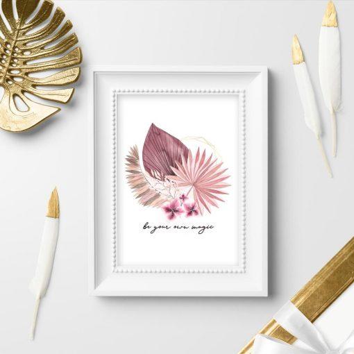Plakat z typografią w pastelowym różu