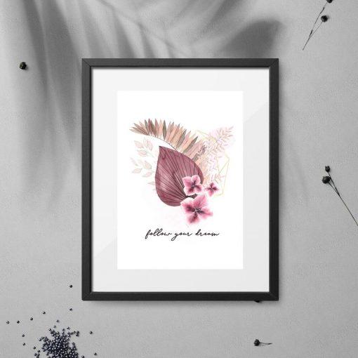 Plakat z motywem roślinnym i typografią