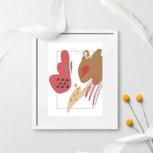 Stonowany plakat z liśćmi i abstrakcją
