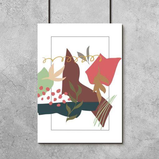 Plakat z kolorowymi kształtami