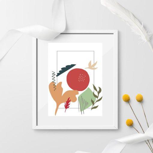 Plakat do przedpokoju z motywem liści i abstrakcji