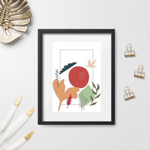 Plakat z abstrakcyjnym pejzażem