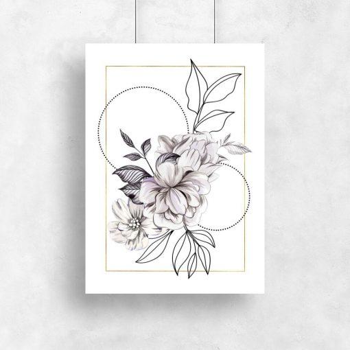 Geometryczny plakat do salonu - Kwiaty