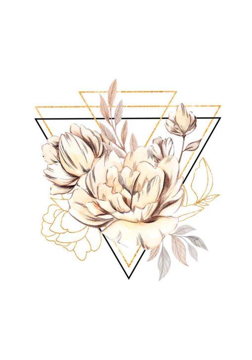 Plakat geometryczny z kwiatami