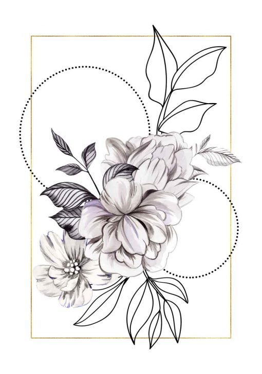 Geometryczny plakat - Kwiaty