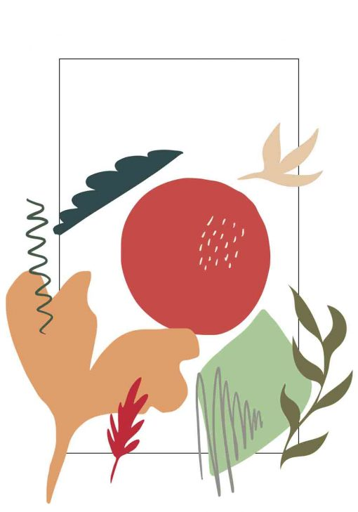 Plakat abstrakcyjny krajobraz i rośliny