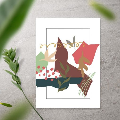 Plakat z abstrakcją i motywami botanicznymi