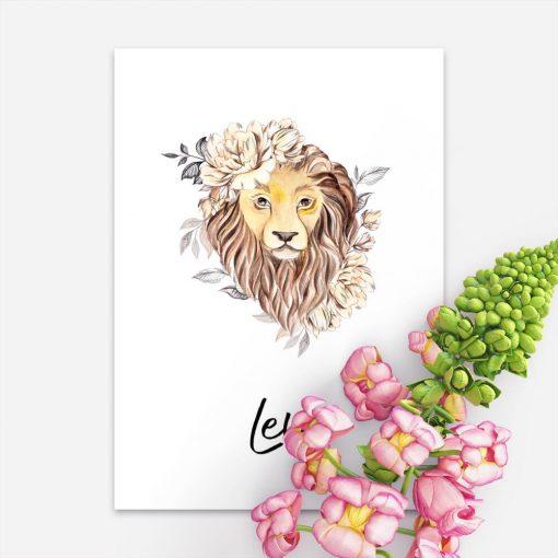 Plakat z lwem na prezent - Znak zodiaku