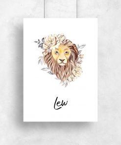 Plakat z lwem do salonu - Znak zodiaku