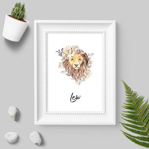 Plakat z lwem do pokoju - Znak zodiaku