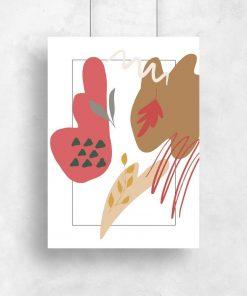 Plakat z plamami i listkami