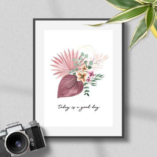 Różowy plakat z kwiatowym motywem