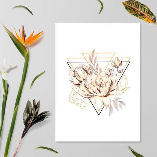 Plakat geometryczny z kwiatami do biura
