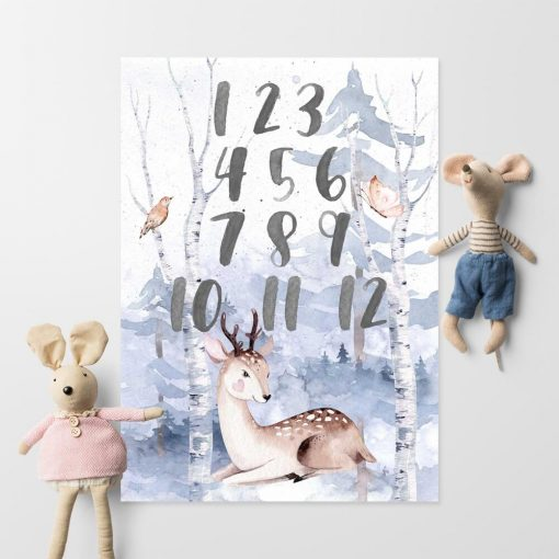 niebieski las na plakacie dla dzieci