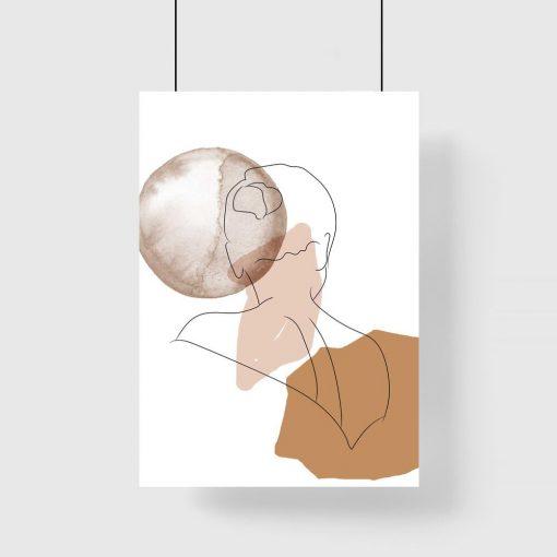 Plakat z abstrakcją i kobietą