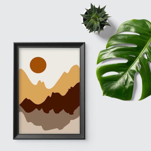 Plakat z motywem gór w brązowym kolorze