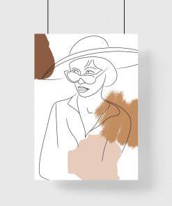 Plakat z motywem abstrakcji i szkicu kobiety