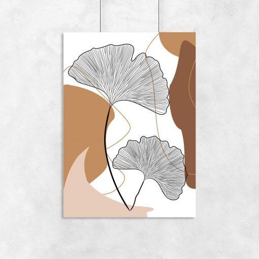 Plakat cappuccino ze szkicem liści