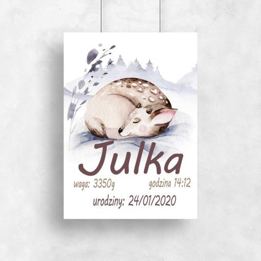 urocza sarenka na plakaciku do pokoju dziecka