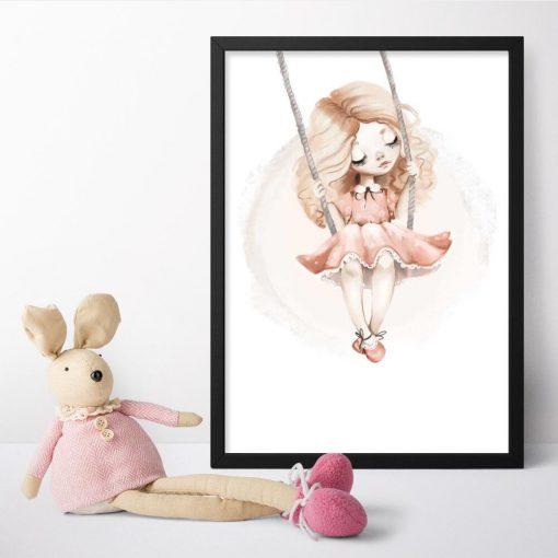 Plakat do pokoju dziecka z dziewczynką i huśtawką