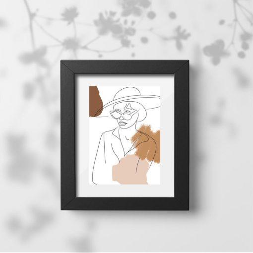 Brązowy plakat z rysunkiem kobiety