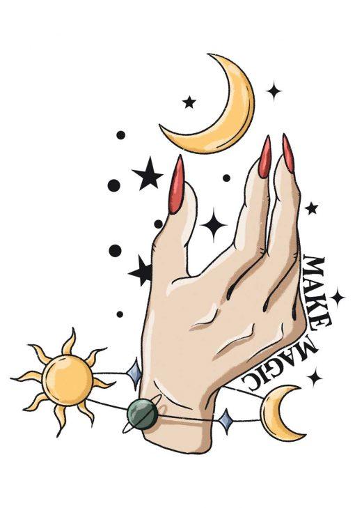 kobieca dłoń na plakacie z napisem o magii