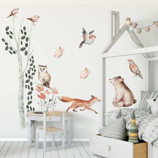 ptaszki i las- komplet dziecięcych naklejek