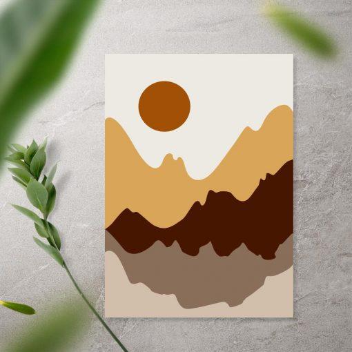 Plakat w tonacji brązu z górami