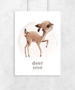 Plakat z jeleniem do pokoju dziecka