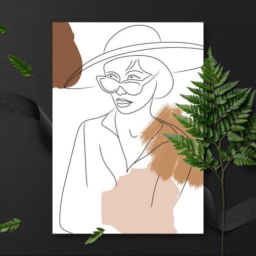 Plakat w brązie z motywem kobiety w kapeluszu
