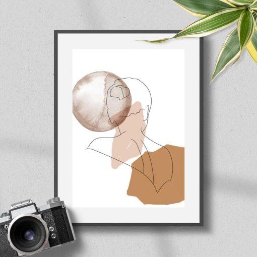 Plakat z motywem rysunku kobiety z kokiem