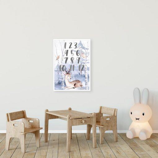 plakat do pokoju dziecinnego- jelonek w lesie