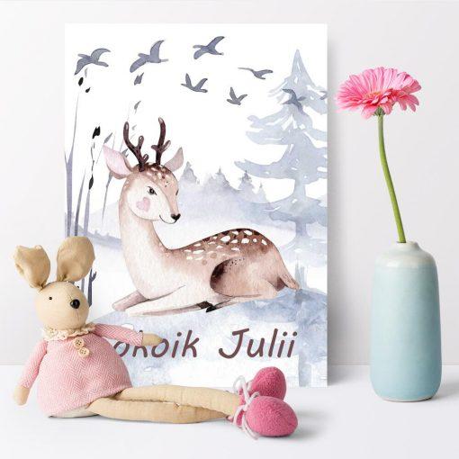 pokój przedszkolaka dekorowany uroczym plakatem z motywem zwierzęcym