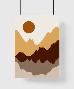 Plakat z górskim pejzażem w brązie