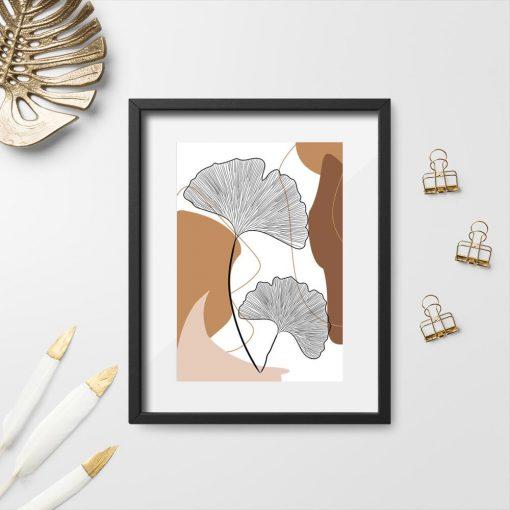 Plakat z rysunkiem elementów roślinnych
