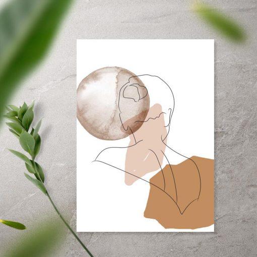 Plakat kobiece kształty na tle abstrakcji