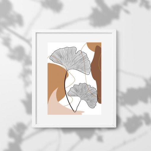 Rysunek liści miłorzębu na plakacie