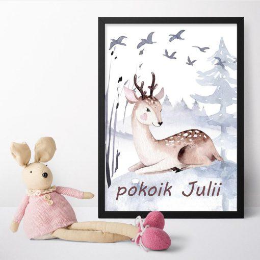 beżowo-brązowy jeleń na plakacie boho dla dzieci