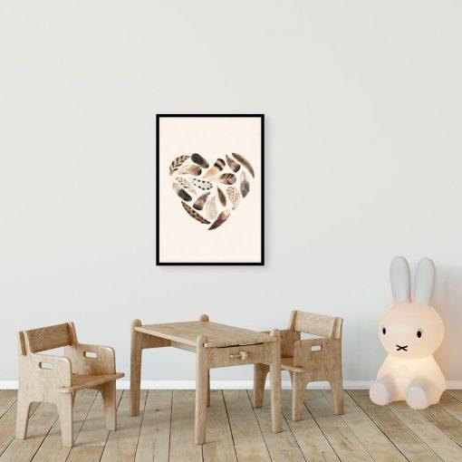 Serce z piór - Beżowy plakat dziewczęcy