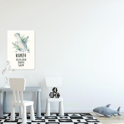 Plakat metryczka z motywem dinozaura dla dzieci