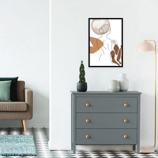 plakat line art z brązowymi cętkami