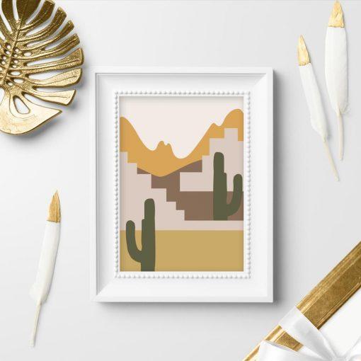 Plakat z widokiem na kaktusy
