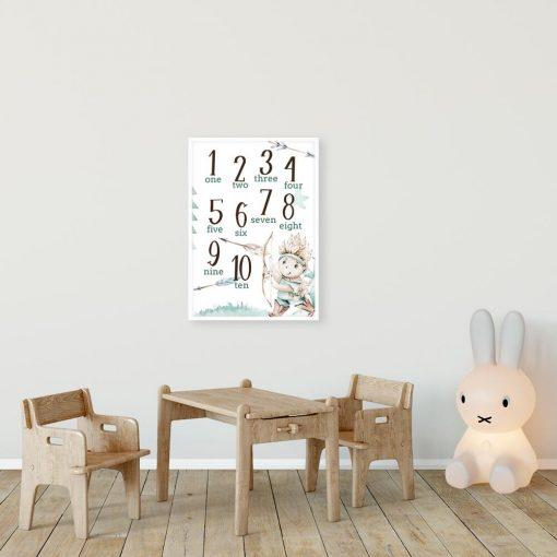 Cyfry po angielsku - Plakat do pokoju przedszkolaka