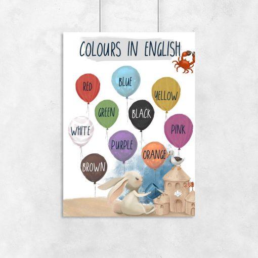 Dydaktyczny plakat dla dzieci - Colours in english