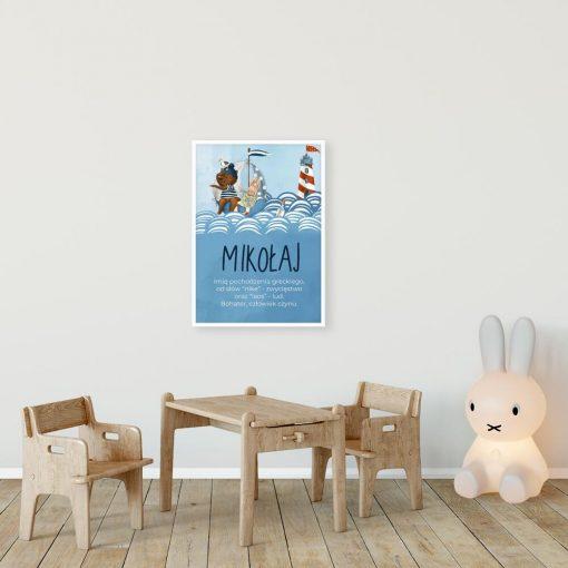 Niebieski plakat imienny z morskim motywem