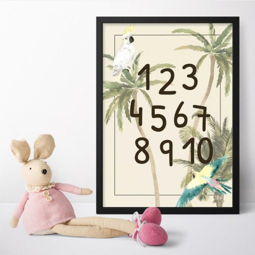 papuga kakadu na palmie - plakat do pokoju dziecinnego