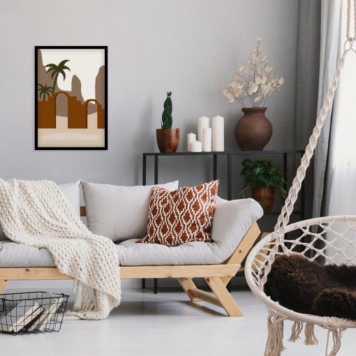 Artystyczna grafika z palmą - Plakat go gabinetu