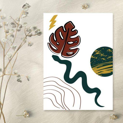 Abstrakcyjny plakat z zielona planeta do salonu