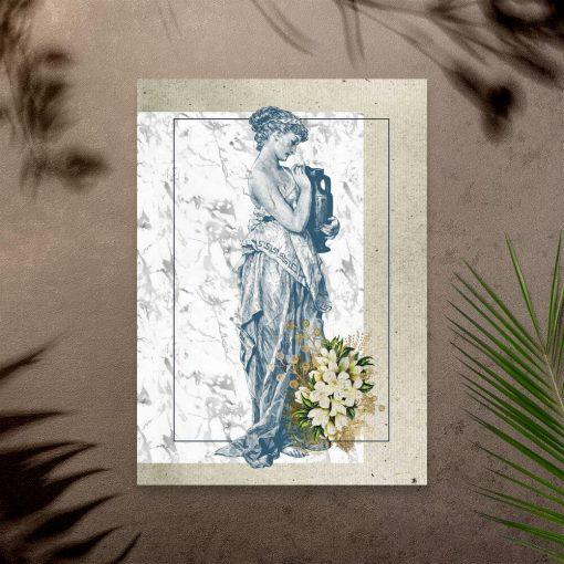 Plakat szaro-niebieski z kobietą